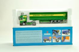 Universal Hobbies Diecast Truck issue comprising 1/50 Scania Curtainside in the livery of Sparks.