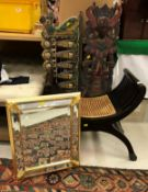 A 20th Century x-framed cane seated stool,