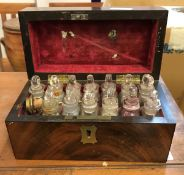 A 19th Century figured mahogany apothecary's box of plain rectangular form,