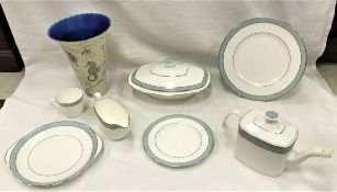 """A box containing a collection of Royal Doulton """"Etude"""" dinner and tea wares and a Connoisseur"""