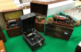 """Victorian pine-cased electrotherapy unit bearing white metal plaque inscribed """"Grigg's Conical"""