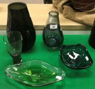 A collection of 20th Century studio glassware including Holmgaard wine glass, Holmgaard type vase,