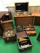 """A circa 1900 French electric therapy unit, the mahogany case stamped """"A Gaiffe, Paris 200196"""","""