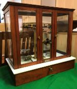 A set of circa 1900 mahogany and glazed cased precision scales with integral microscope bearing