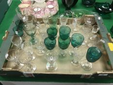 A box and contents of various 19th Century and other drinking glasses including trumpet shaped ale