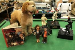 A large quantity of various toys and games to include Pedigree Plush pushalong dog, Tiger Toys fort,