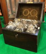 A 19th Century mahogany cased apothecary's chest with rosewood stringing and lacquered brass handle,