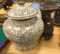 A modern Chinese baluster shaped vase and cover,