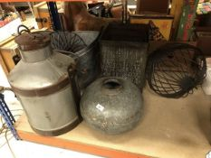 A milk churn, graduated set of three galvanised waste paper bins and a riveted galvanised water pot,