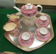 A Spode Copeland primose pattern transfer decorated tea set with teapot,