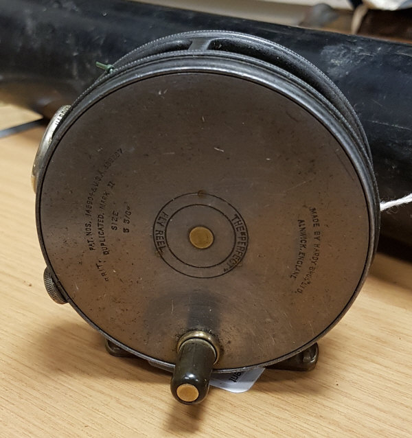"""Lot 57 - A 1930's Hardy Perfect 33/8"""" duplicated Mark II fly reel with agate line guide"""