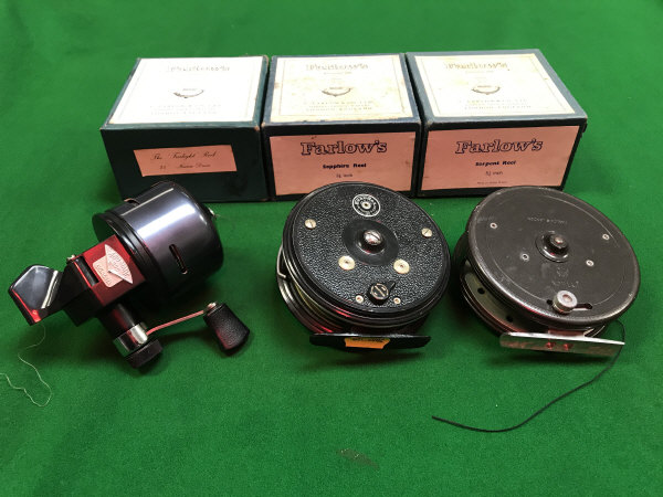 """Lot 81C - A Farlow's """"Sapphire Reel"""" 31/8"""" with makers cardboard box another """"Serpent Reel"""" 31/4"""" with makers"""