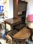 A collection of furniture to include a circa 1900 oak student's bureau, a 1920s oak bureau,