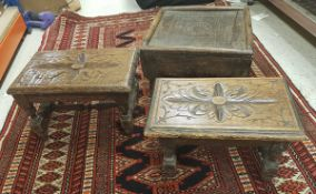 Two small carved oak miniature stools and an Indian carved teak stool