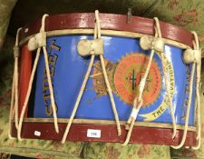 "A painted and transfer decorated Salvation Army base drum inscribed ""Street Y.P."