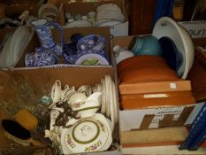 Five boxes of assorted household china ware together with a box of glass and a box of sundry items