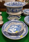 "A 19th Century blue and white ""Willow"" pattern pierced chestnut basket,"