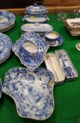 A collection of various English blue and white transfer decorated pottery including lozenge shaped