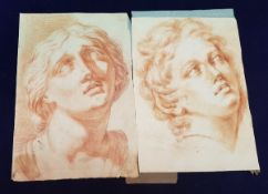 18th CENTURY CONTINENTAL SCHOOL two portrait sketches red chalk on paper unsigned