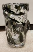 """A Whitefriars """"Knobbly"""" cased vase with green splatter pattern by William Wilson and Harry Dyer,"""