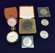 A silver cased and yellow metal mounted Waltham pocket watch together with a Timex pocket watch,