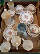 A box of various china wares to include Ansley floral decorative tea set and decorative mugs
