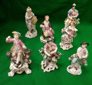 A collection of seven various English pottery and porcelain figures including Chelsea Derby type