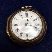 A George III silver pair cased pocket watch by Dolt Rollison together with three various keys