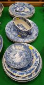 A collection of seventeen various 19th Century and other English blue and white plates and dishes