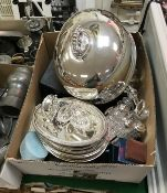 A box of plated wares comprising meat dome, entrée dishes,