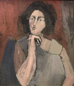 """JUDY TWYNAM """"Woman in pensive pose her chin upon her clenched fist"""" a portrait study, half length,"""