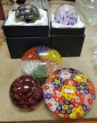 Three Selkirk paperweights with bubble inclusions all signed to base together with two further