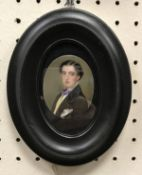 """ENGLISH SCHOOL """"Young man in violet bow tie and black jacket"""" a portrait study miniature oil on"""
