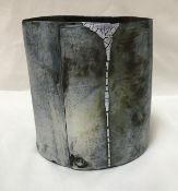 HILARY MAYO (Contemporary) - a hand-built stoneware vessel with dripped glaze detail,