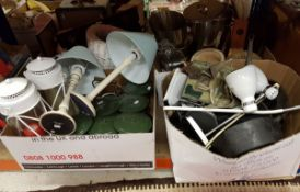 Four boxes of sundry household items to include wine buckets, hurricane lamps,