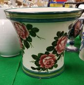 "A Wemyss Pottery ""Cabbage Rose"" design flared vase with two tone green banded rim and base,"