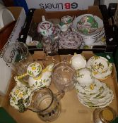 Two boxes of assorted china and glassware to include modern Italian, Maiolica faience ware,