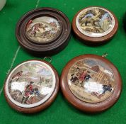 "Four Victorian ""Bear"" pot lids including ""Bears at School"", ""Alas: Poor Breuin"","
