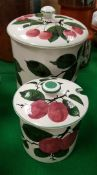 "A Plichta Pottery ""Cherry"" pattern pot and cover,"