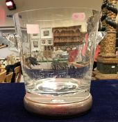 A modern glass presentation wine bucket with silver base, bearing inscription to glass,