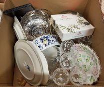 Two boxes of various china, glass ware,