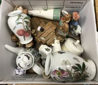 "A box of various china wares to include Wedgewood ""Sarah's Garden, Portmerion ""Pormona"","