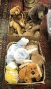 Two boxes of various soft and/or wood wool filled toys including a Farnel Alpha seated lion,