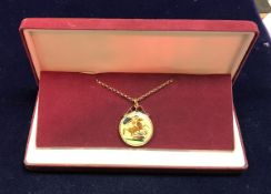 An 1893 Victorian £2 coin with 9 carat gold mount and chain with later coinamell decoration