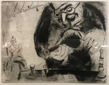"""AFTER MARC CHAGALL """"Pliouchkine offers a drink"""" black and white etching"""