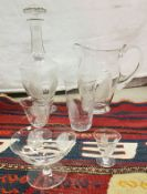 A collection of various Austrian/Bohemian 1930s glassware with etched decoration to include a jug