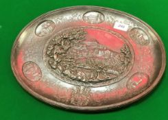 A 19th Century German cast iron plaque depicting various grand houses and coat of arms stamped