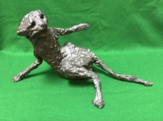 """IN THE MANNER OF ROBERT CLATWORTHY (1928-2015) """"Startled cat"""" verdigris patinated bronze study"""