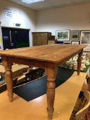 A modern pine plank top farmhouse style kitchen table CONDITION REPORTS Height to
