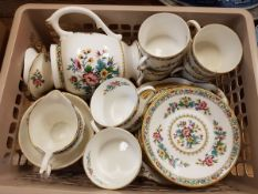 Two boxes of various china wares to include twelve Goss and other commemorative items,